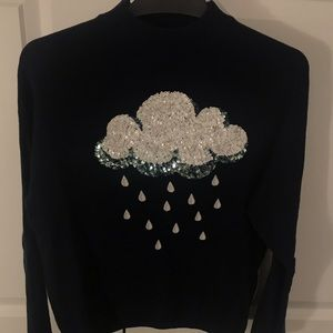 H&M Mock neck deep blue knit sweater with sequins